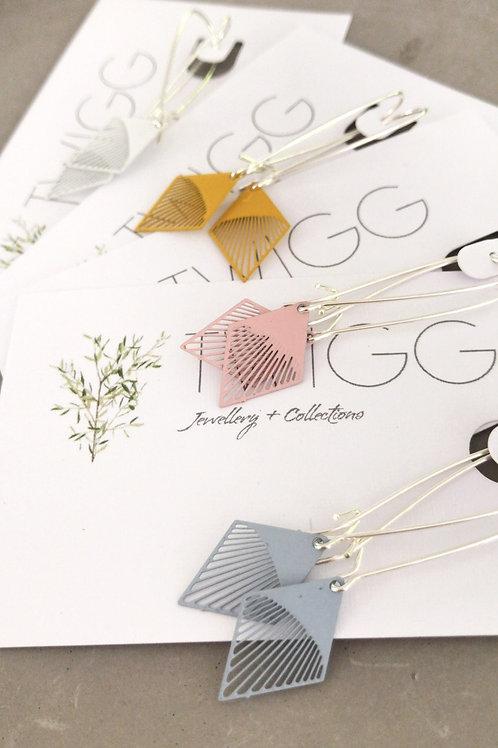 Sterling silver long line kite earrings
