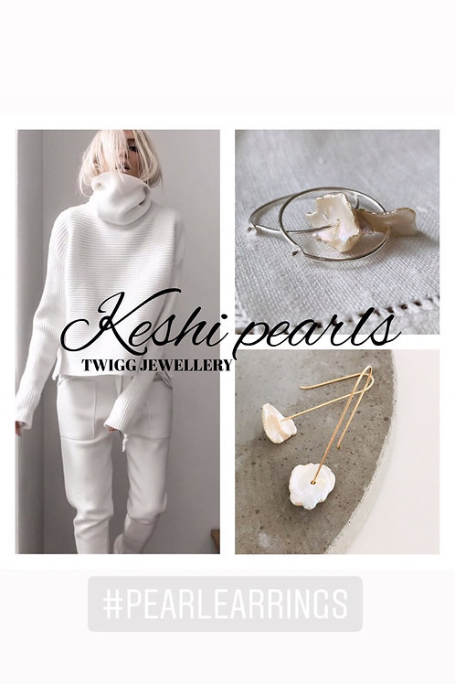 Keshi long line pearl earrings