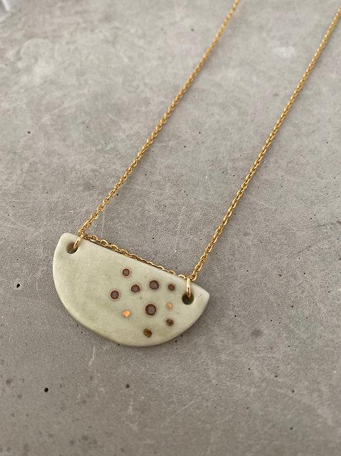 Sage dot gold porcelain crescent necklace