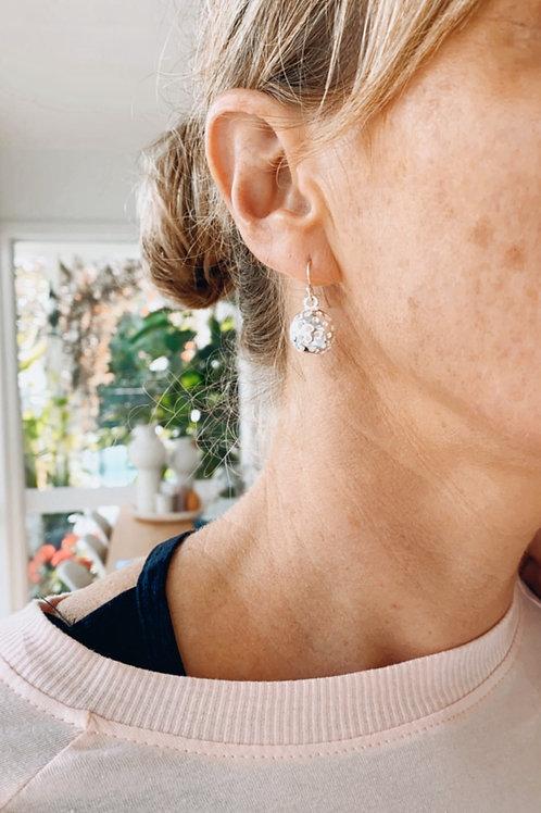 Sterling silver filigree ball earrings