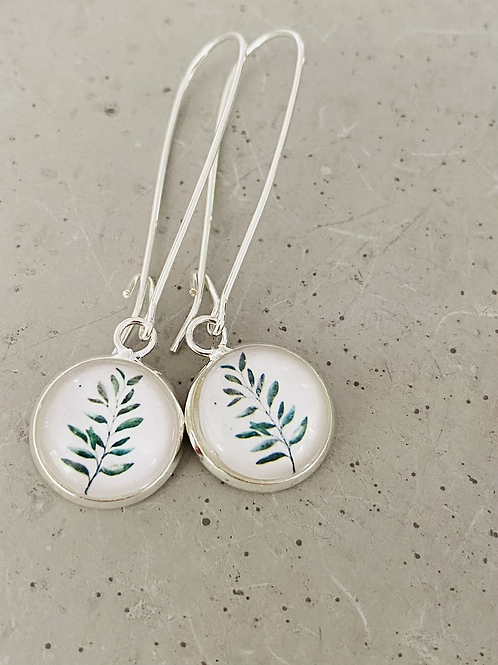 Olive leaf sterling silver glass dome earrings