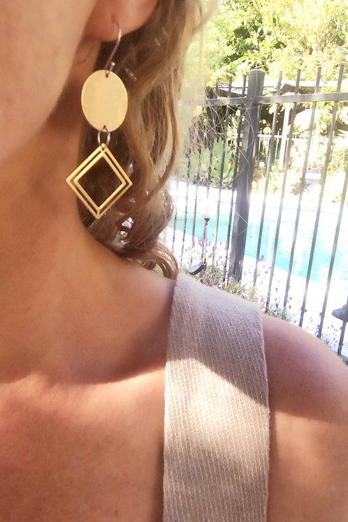 Satin finished Brass earrings
