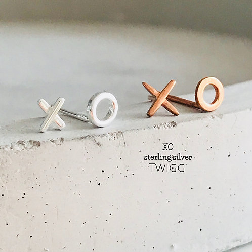 XO Earrings - Rose Gold or Sterling Silver