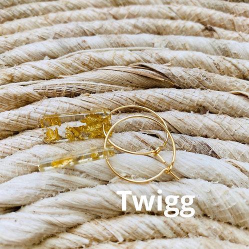 Tangular Gold fleck creole hoop earrings