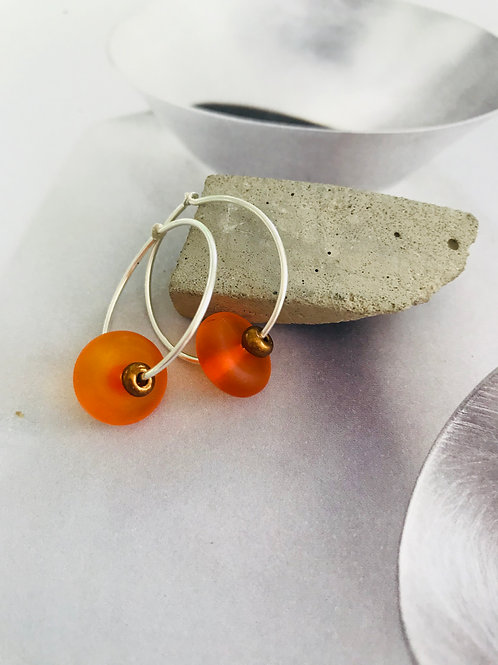 Orange seaglass  earrings