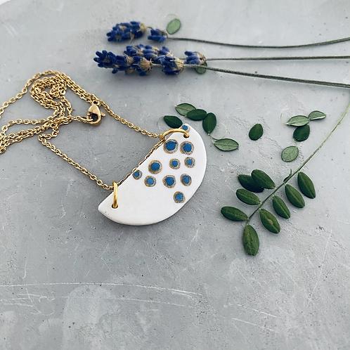 Gold rimmed bubble Porcelain  crescent necklace