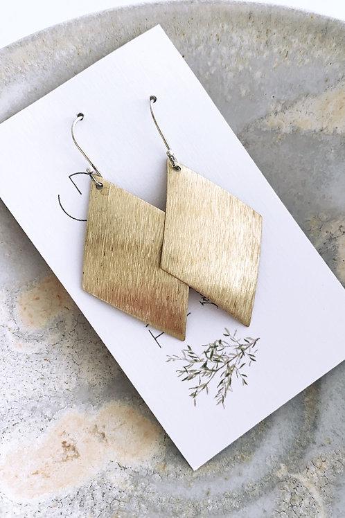 Solid kite Satin brass earrings