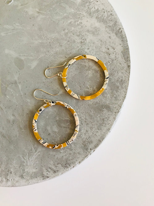 Mustard hoop earrings