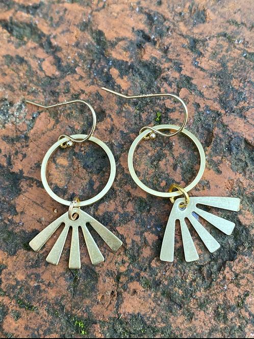 Element brass drop Earrings