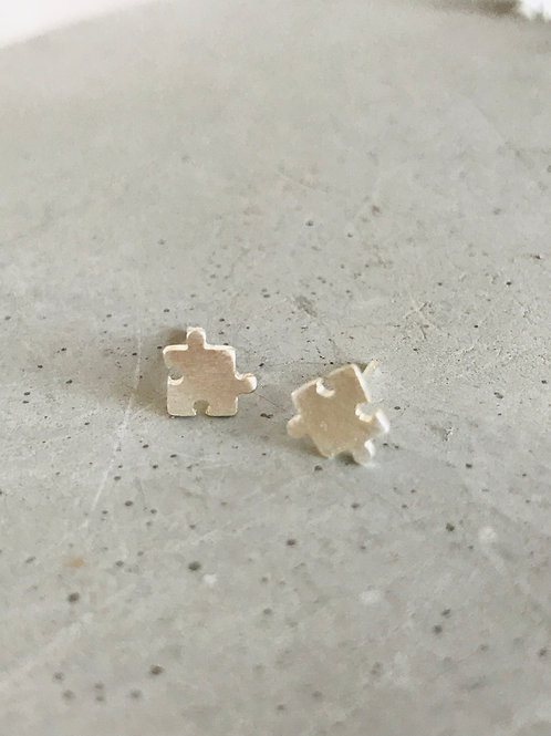 Puzzled sterling silver stud earrings