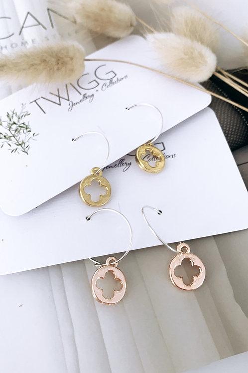 Clover sterling silver hoop earrings
