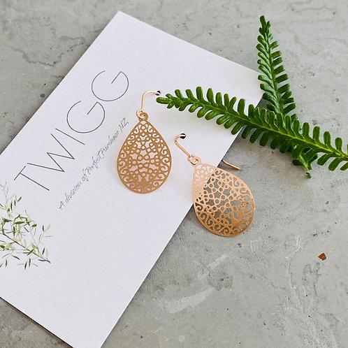 filigree earrings - rose gold tear