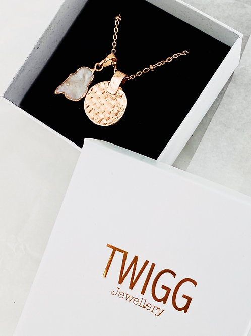 Rose gold rimmer domed pendant necklace