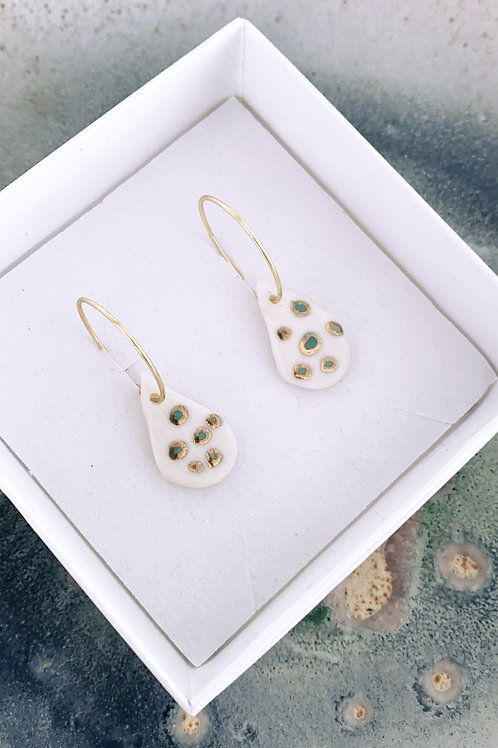 Ocean droplet Porcelain Earrings