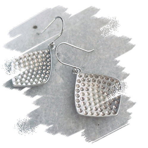 CL Matte Silver Dimpled Earrings