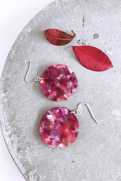 Strawberry resin disc earrings