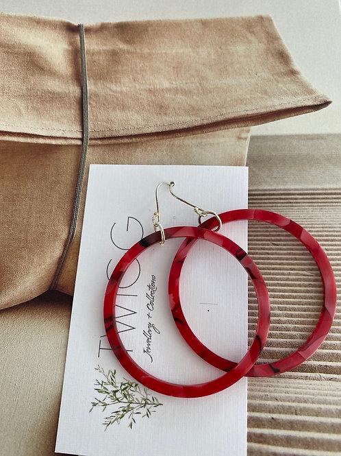 Infinity hoop earrings  RED