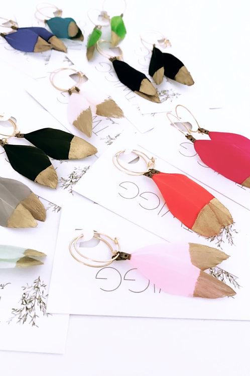 Hoop hand painted feather earrings