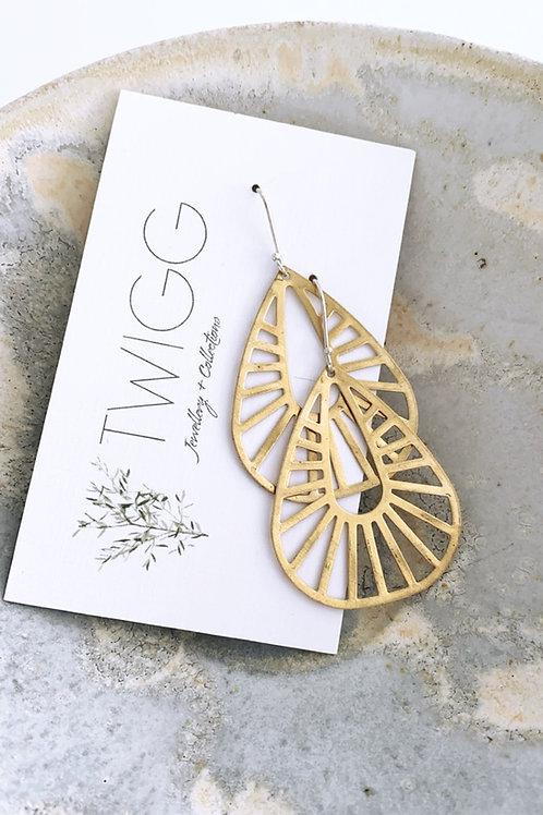 Alexandra hook Satin brass earrings