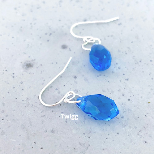 Austrian Crystal Droplet Earrings -Blue