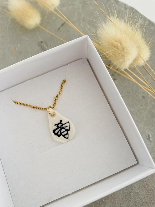 Bee porcelain necklace