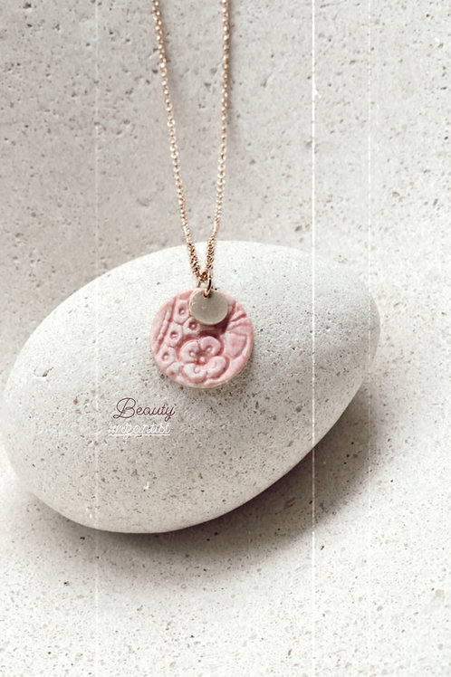 Musk pink Disc  porcelain necklace