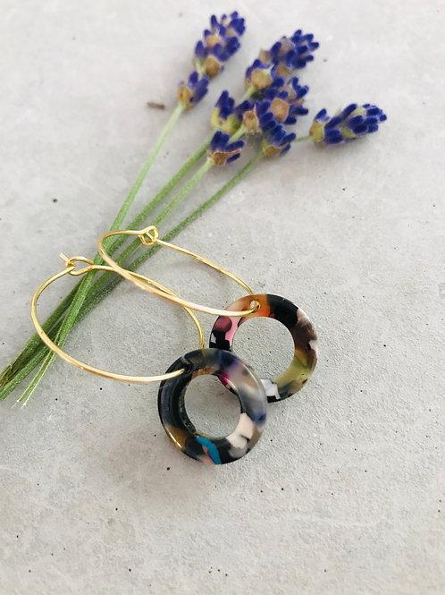 Multi resin double hoop earrings