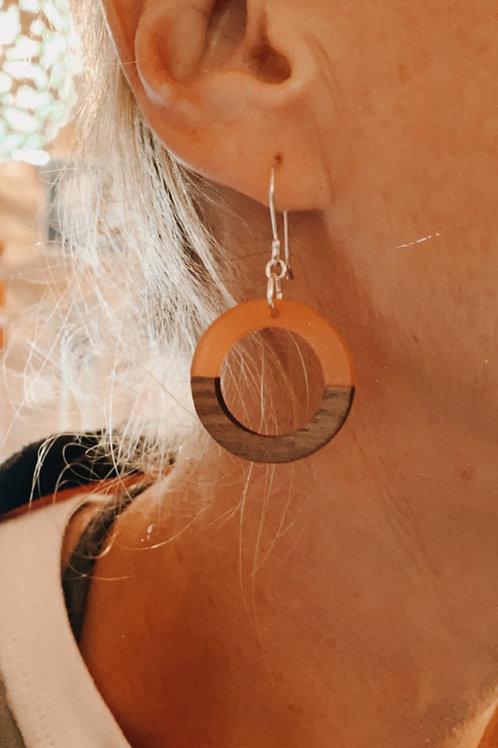 Wood | resin circle earrings