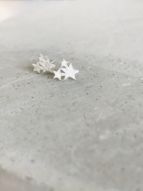 Sterling Silver Star Cluster Earrings