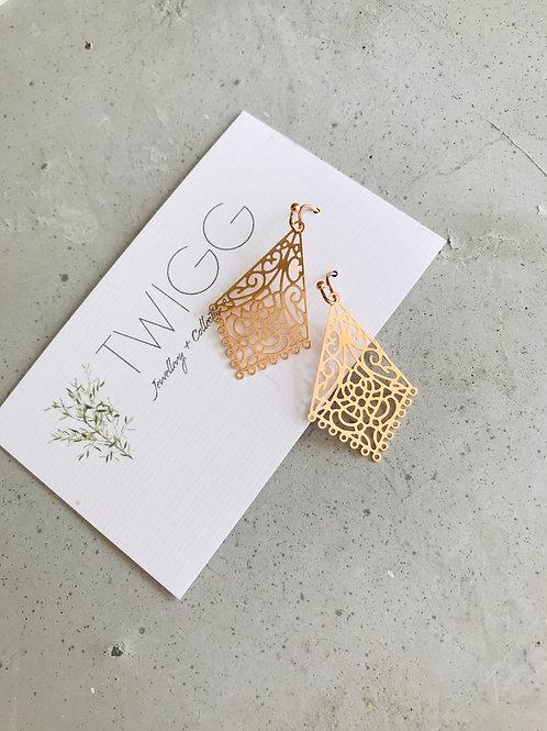 Rose gold Filigree tri earrings