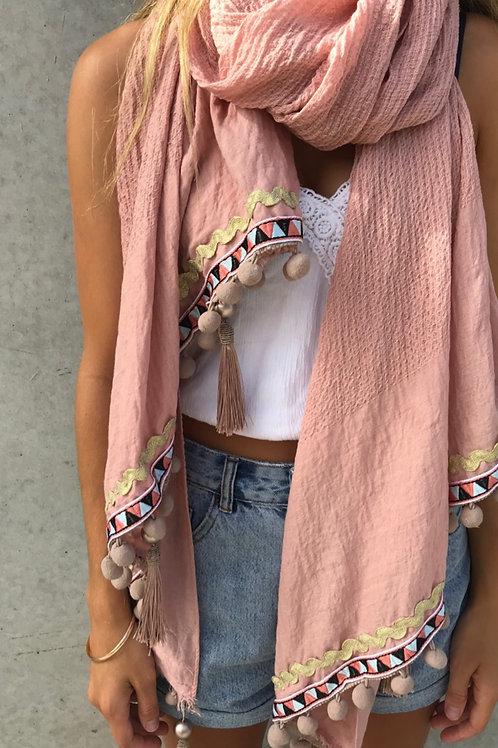 Blush dark Pom Pom scarf