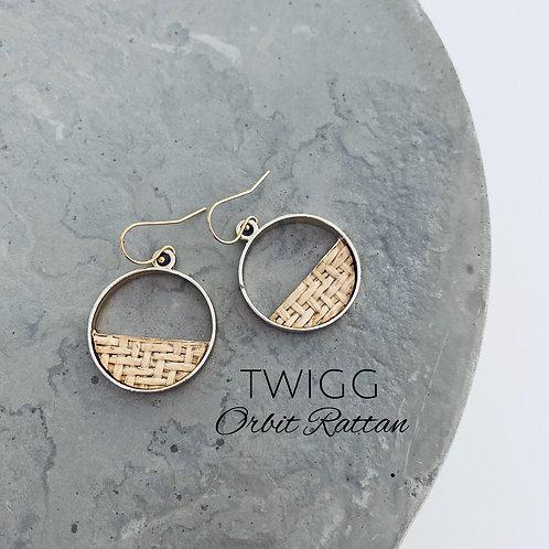 rattan orbit earrings