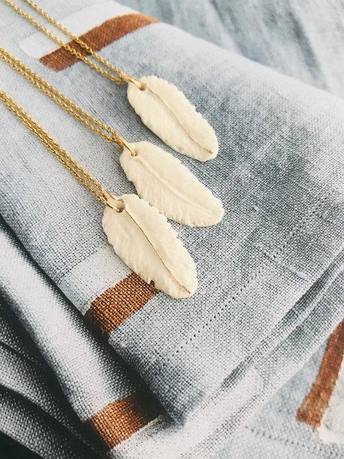 Ceramic feather necklace