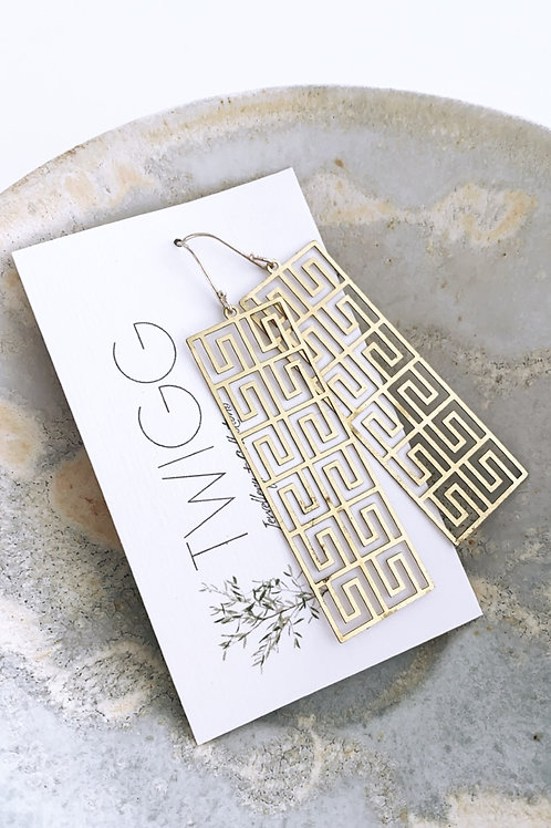 Light weight rectangle filigree Satin brass earrings