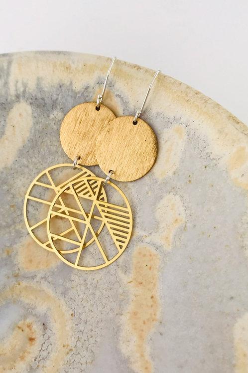 Geo Satin brass earrings