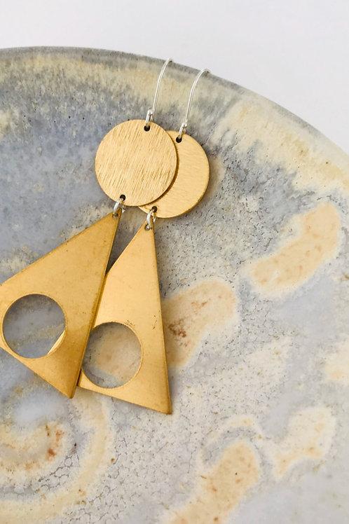 Tri Satin brass earrings