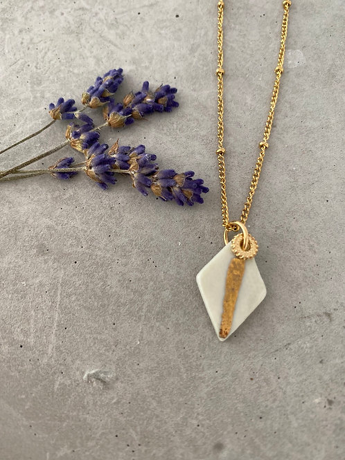 Sage diamond tyre porcelain crescent necklace