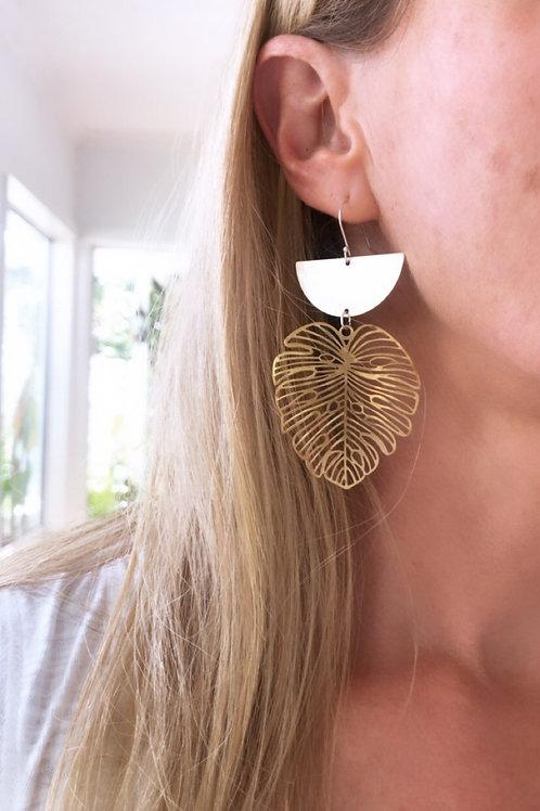 Monstera Crescent Earrings