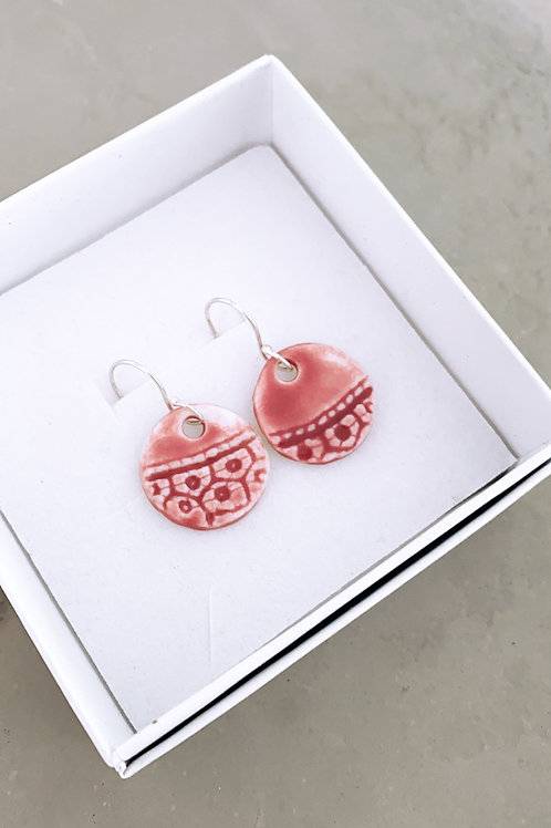 Blush lace porcelain earrings