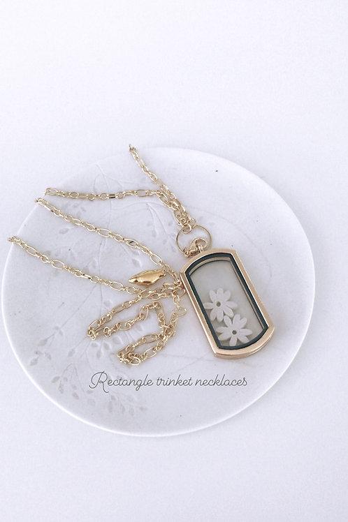 Trinket rectangle pendant necklace