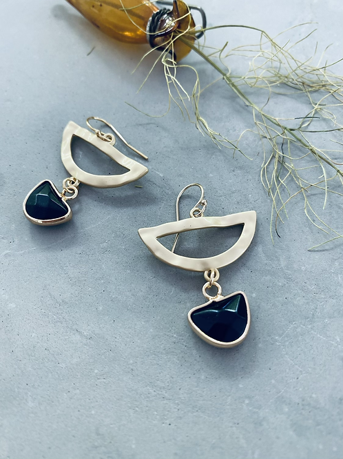 PIPPA crescent gem droplet earrings