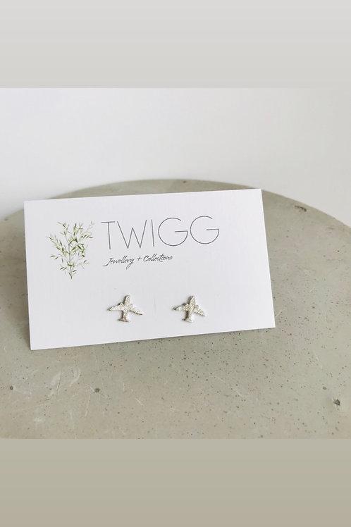 Plane sterling silver stud earrings