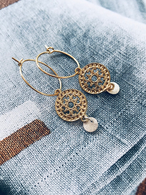 Boho filigree creole hoop Earrings