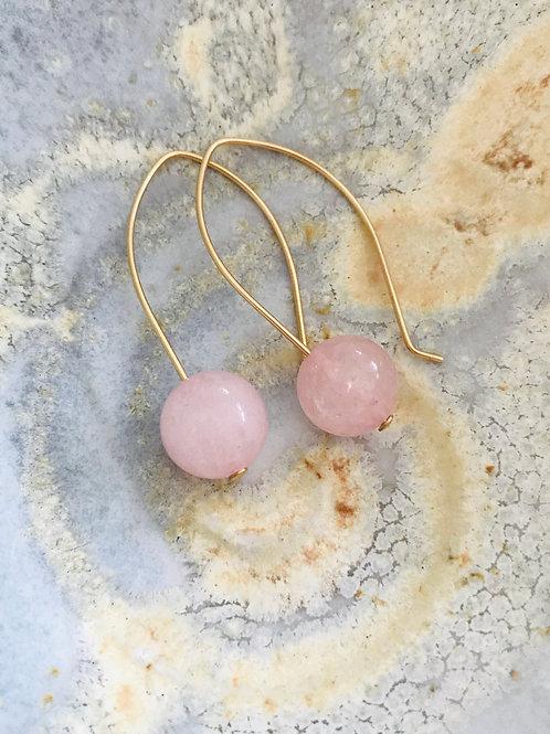 Bestowed earrings - rose quartz