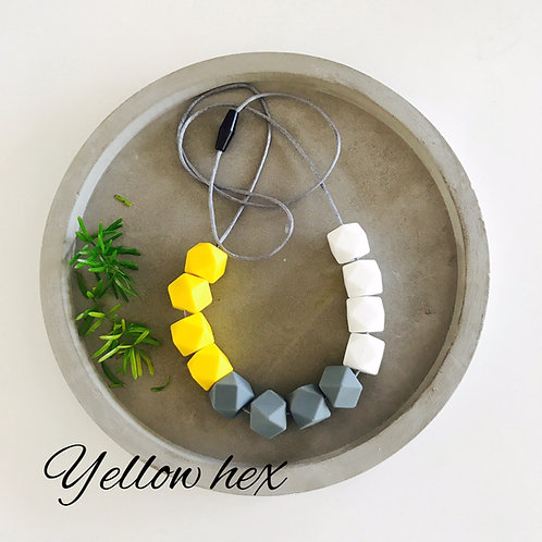 Yellow Hex Silicone Necklace