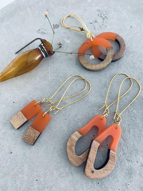 Resin + wood earrings