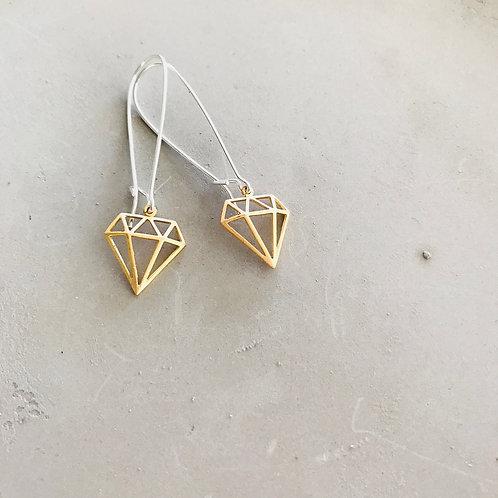 Long line diamonds earrings