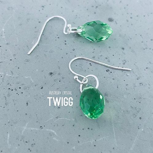 Austrian Crystal Droplet Earrings -Green