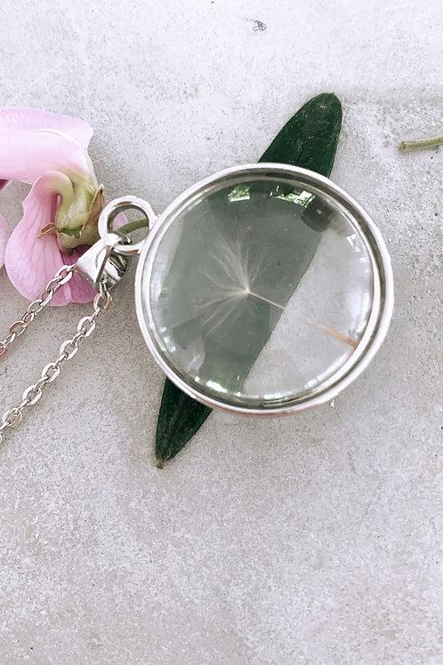 Silver glass ORB dandelion necklace