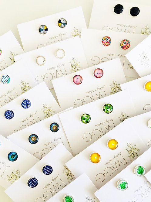 10 x Glass Dome Earring Retail Mix